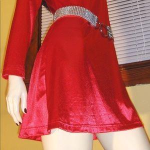 ❤️VTG 90s Glam Lipstick Red SEXY Satin Mini Dress
